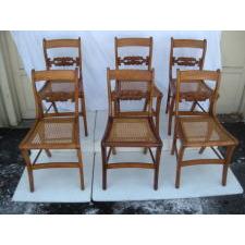six tiger Maple Chairs, Circa 1825