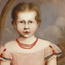 """Full Length Portrait of a Young Girl Wearing a Pink Dress, Red Coral Necklace and Holding Flowers in a Landscape View"""