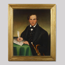 Portrait of a Gentleman Holding a Horn While Writing Music