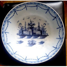 English Blue & White Pearlware Pottery Chinoiserie Bowl,