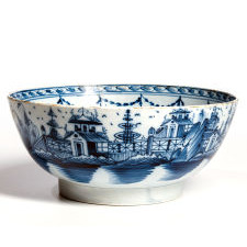 English Blue & White Pearlware Pottery Chinoiserie Bowl