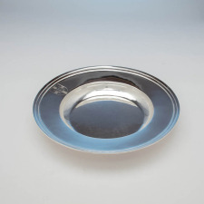 Side view of the Arthur Stone Arts & Crafts Sterling Silver Alms Basin, Gardner, MA, c. 1922