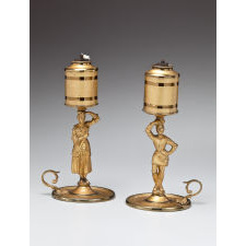 Pair of Figural Lacquered Brass Lard Lamps