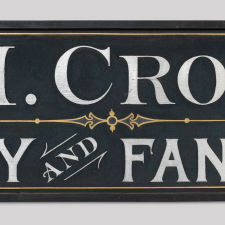 Trade Sign: Mrs. L.M. Crosswell, Millinery and Fancy Goods